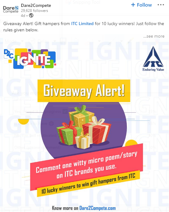 Example of giveaway on LinkedIn